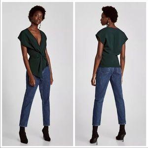 Zara V-Neck Asymmetrical Twist Front Top Size S